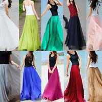 Womens Chiffon  Elastic High Waist Band Skirt Double Layer Long Maxi Beach Dress