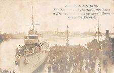 C4589) WW1 FIUME 4/11/1918 I CACCIATORPEDINIERI STOCCO E SIRTORI SUL MOLO DANIEL