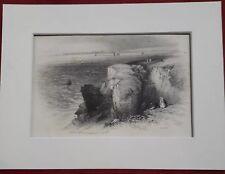 Antique Print Illustration Daddy's Hole Torquay Devon by J Harwood c1844 Cliffs