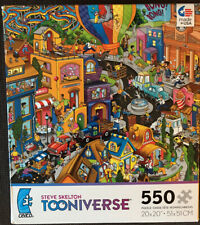 Ceaco Tooniverse Steve Skelton 550 Pc Puzzle World In A Hurry Used ++ Complete