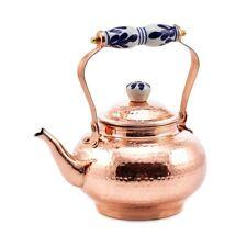 Tea Kettle 8 Cup 2 Quart Copper Stovetop Ceramic Handles Hot Water Old Dutch New