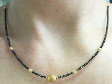 13ct Genuine Black diamonds diamond  stamped solid 18k 14k yellow gold necklace