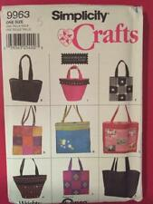Simplicity Sewing Pattern 9963 Nine Tote Bags Uncut Accessories Fashion Craft