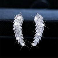 Fashion Women 925 Silver White Topaz Leaf Ear Studs Hook Dangle Drop Earrings