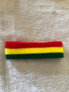 JAMAICA~Rasta ~RED, GOLD, GREEN ~HEADBAND~SWEATBAND~RASTAFARIAN ~NEW