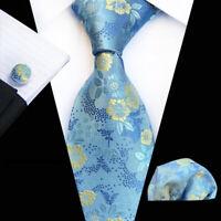 Tie Pocket Square Cufflinks Blue Yellow Flower Set 100% Silk Wedding