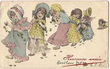 Heureuse Annee HAPPY NEW YEAR Children Girls Vintage Postcard France, Austria