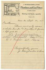 J. Wurzbacher & Sons - Lawrence, MA Vintage Signed Letterhead - 1915 Ephemera