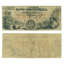 Obsolete Currency Bank of Chattanooga, Tennessee $20 1858 Very Fine Rarity 8!