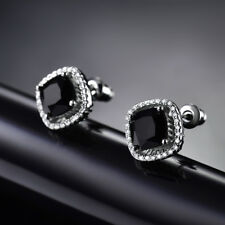 HUCHE Square Black Sapphire Crystal Silver Gold Filled Stud Women Party Earrings