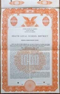 Licking, OH SPECIMEN 1956 Heath Local School Bond Certificate - Ohio