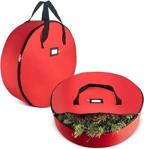 Tear Resistant Christmas Wreath Storage Bag 2 Pck 24'' Red