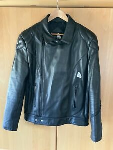 Motorradlederjacke Krawehl Gr 58 Bluf Vintage Schwarz