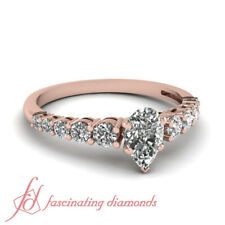 1 Carat Pear Shaped Diamond Rose Gold Engagement Rings With Round Side Diamonds