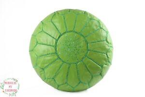 Round poufs lime green Moroccan leather ottoman boho pouf outdoor poufs ottoman