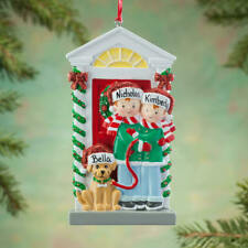 NAME PERSONALIZED Couple with a Dog Red Door New Home First Apartment Ornament
