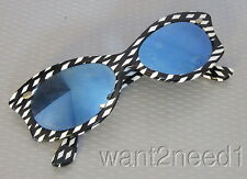60s vtg French Black White Op Art Check Sunglasses blue mirror lens new/old tag