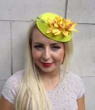 Yellow Orchid Flower Pillbox Hat Fascinator Races Rockabilly Clip Hair 50s 3235
