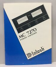 Original McIntosh MC 7270 Power Amplifier Owners Manual w/ Warranty Card & more