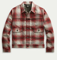 $590 RRL Ralph Lauren Large Red Buffalo Plaid Jacket Polo Aztec Hunting Leather