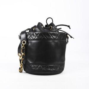 Vintage Chanel Black Quilted Lambskin CC Logo Bucket Bag