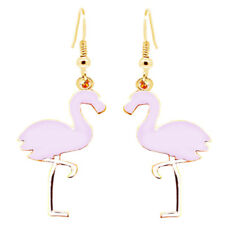 Gold and Light Pink Spring Summer Fashion Women Flamingo Bird Drop Earrings