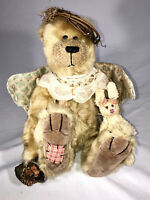"9 3/4"" OOAK Handmade TEDDY BEAR ANGEL w/ bunny & Basket, 2006 SIGNED S. Miller ?"