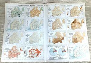 1925 Antique Map Finland Finnish Crime Health Care Population Choropleth Data