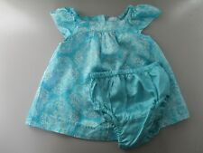 Baby Gap Size 0-3 Months Blue Floral Short Sleeve Dress and Diaper Cover Bloomer