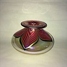STUART ABELMAN ART GLASS VASE IRIDESCENT PULLED FEATHER - SIGNED DATED 1997 #rd