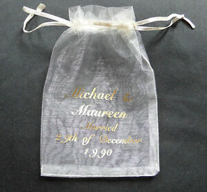 Personalised organza bag, wedding favour, party bags in lots of 10, 50, & 100's
