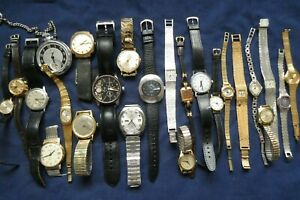 Job Lot x24 Gents/Ladies Mechanical watches SPARES/REPAIRS Charity Auction