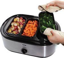 2-in-1 Turkey Roaster Oven 3-Bin Buffet Server Food Warmer Stainless Steel 18-Qt