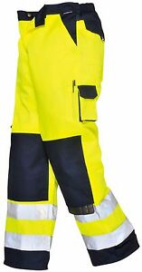 Mens Hi Vis Viz High Visibility Contrast Cargo Work Trousers Kneepad Pockets