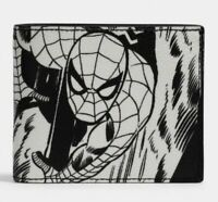 NEW Coach Marvel Leather Spider-Man Wallet ID Holder Comic Book Print 3-in-1 NWT