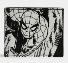 Coach Marvel Leather Spider-Man Wallet ID Holder Comic Book Print 3-in-1 NWT