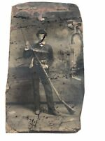 Antique Tintype Photo Young Man With Rifle Gunpowder Bag Very Long Rifle