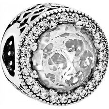 Authentic Pandora Silver Sterling Clear CZ Radiant Hearts Charm Bead 791725CZ