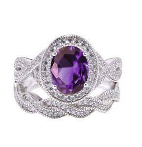 Large Halo Oval Amethyst Infinity CZ Celtic Silver Wedding Engagement Ring Set