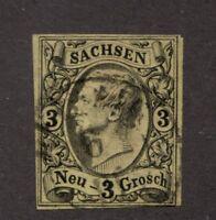 SAXONY Sc# 12 Θ used, Sachsen Neu- 3 Grosch, postage stamp cv$16