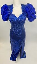Vtg 80s Alyce Designs Blue Sequin Dress/Gown Prom/Party/Formal Puffy 4/Small