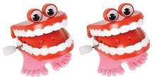 2 Count Chattering Chomping Wind Up Toy Walking Teeth Dentures With Eyes