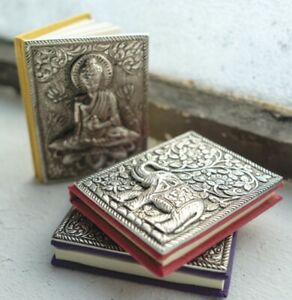 Notebook Diary Journal Metal Recycled Paper Handmade Fair Trade Buddha Elephant