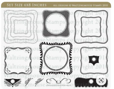 NEW Waltzing Mouse Clear Stamps Labels 1 Spellbinder Nestabilities Die Square