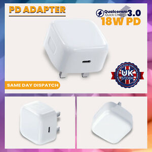 UK Plug PD 18W USB-C Type C Fast Wall Charger Adapter For iPhone 11 12 IPAD Pro
