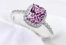 Luxurious Women Men Pink Sapphire 14KT White Gold Wedding Ring Size 4-14+Gift