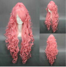 Vocaloid Megurine Luka Wig Pink Curly Wigs Clip Ponytail Cosplay Wig + Wig Cap