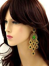 18K Gold Plated GP Green Crystal Rhinestone Chandelier Drop Dangle Earrings 6185