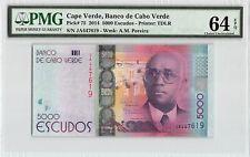 Cape Verde 2014 P-75 PMG Choice UNC 64 EPQ 5000 Escudos