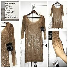 aa78b875c4 Aidan Mattox Size 4 Dress Gold Champagne Sequin 3 4 Sleeve NEW Elegant!
